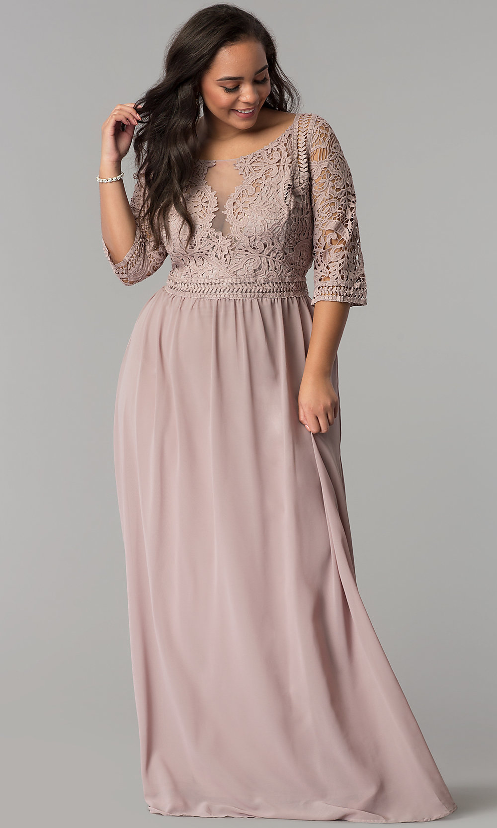 Chiffon Plus-Size Prom Dress with Sleeves - PromGirl
