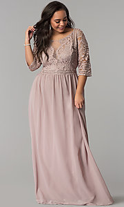 Image of three-quarter-sleeve plus-size chiffon prom dress. Style: SOI-PD16762 Front Image