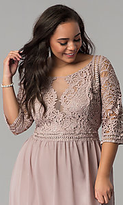 Image of three-quarter-sleeve plus-size chiffon prom dress. Style: SOI-PD16762 Detail Image 1