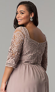 Image of three-quarter-sleeve plus-size chiffon prom dress. Style: SOI-PD16762 Detail Image 2
