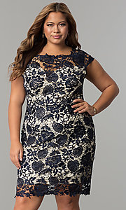 Image of short plus-size cap-sleeve lace party dress. Style: SOI-PD16686 Front Image