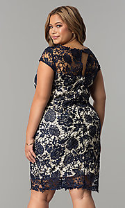 Image of short plus-size cap-sleeve lace party dress. Style: SOI-PD16686 Back Image