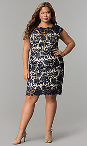 Image of short plus-size cap-sleeve lace party dress. Style: SOI-PD16686 Detail Image 2