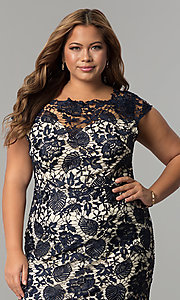 Image of short plus-size cap-sleeve lace party dress. Style: SOI-PD16686 Detail Image 1