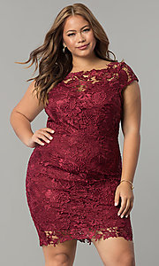 Image of short plus-size cap-sleeve lace party dress. Style: SOI-PD16686 Detail Image 3