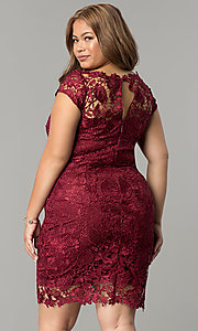 Image of short plus-size cap-sleeve lace party dress. Style: SOI-PD16686 Detail Image 4