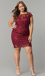 Image of short plus-size cap-sleeve lace party dress. Style: SOI-PD16686 Detail Image 6