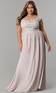 Long Embroidered Bodice Plus Size Prom Dress