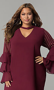 Image of tiered-sleeve short chiffon plus-size party dress. Style: SOI-PS17159 Detail Image 1