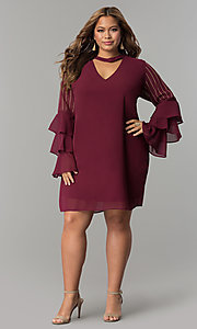 Image of tiered-sleeve short chiffon plus-size party dress. Style: SOI-PS17159 Detail Image 2