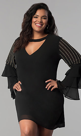 Tiered-Sleeve Short Chiffon Plus-Size Party Dress
