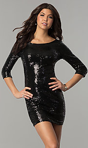 3/4-Sleeve Metallic Sequined Short Holiday Dress
