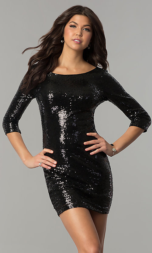 Semi Formal Sequined Sheath Holiday Dress Promgirl