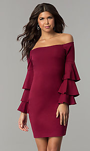 Burgundy Red Short Holiday Dress with Sleeves