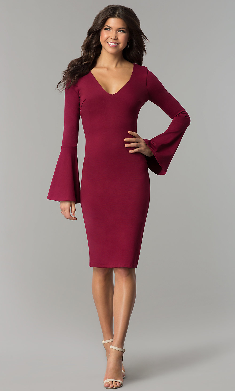 fd7e84dbb4029 Bell Sleeve Knee-Length Holiday Party Dress