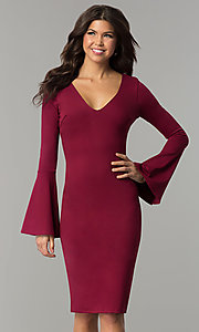 Bell Sleeve Knee-Length Holiday Party Dress