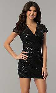 Image of black short sequin v-neck holiday party dress. Style: JTM-JMD8279 Front Image