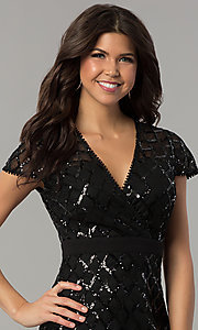 Image of black short sequin v-neck holiday party dress. Style: JTM-JMD8279 Detail Image 1