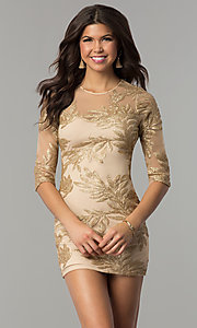 Image of short gold holiday party dress with sequin print. Style: JTM-JMD8048 Front Image