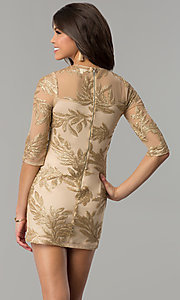 Image of short gold holiday party dress with sequin print. Style: JTM-JMD8048 Back Image