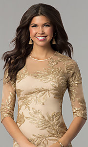 Image of short gold holiday party dress with sequin print. Style: JTM-JMD8048 Detail Image 1