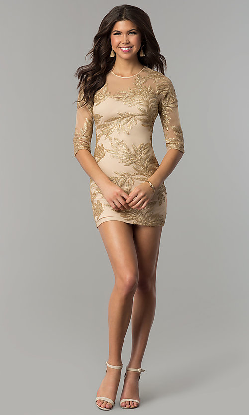 Image of short gold holiday party dress with sequin print. Style: JTM-JMD8048 Detail Image 2