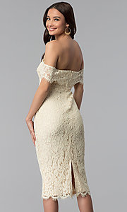 Image of off-the-shoulder lace knee-length holiday party dress. Style: JTM-JMD7683 Back Image