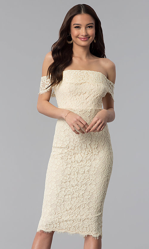 Image of off-the-shoulder lace knee-length holiday party dress. Style: JTM-JMD7683 Front Image