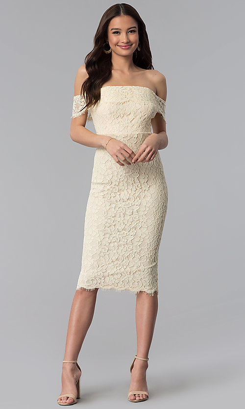 Image of off-the-shoulder lace knee-length holiday party dress. Style: JTM-JMD7683 Detail Image 3