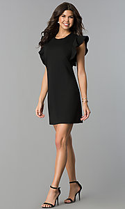 Image of short shift party dress with ruffled sleeves. Style: ESL-60943D-K Detail Image 3