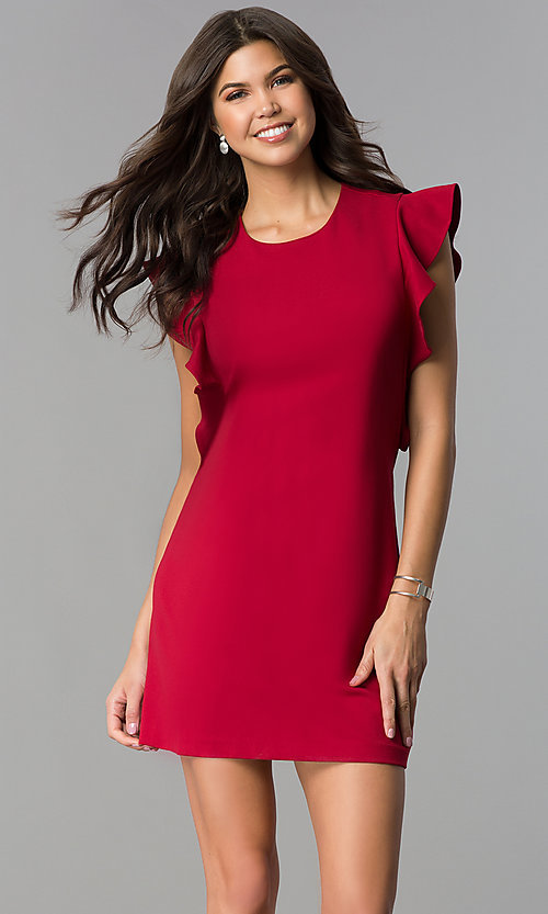 Image of short shift party dress with ruffled sleeves. Style: ESL-60943D-K Front Image