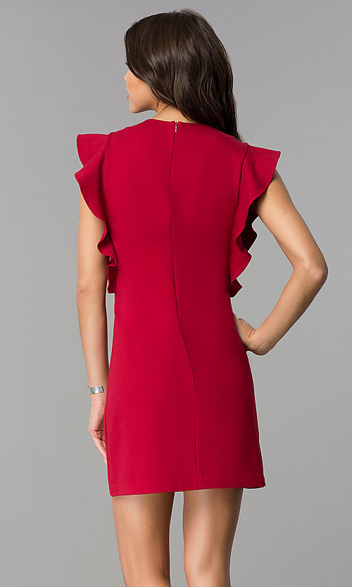 Image of short shift party dress with ruffled sleeves. Style: ESL-60943D-K Back Image