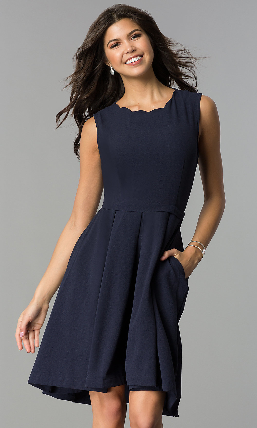 Pocketed Navy Blue Wedding Guest Party Dress Promgirl