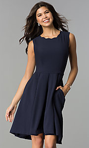 Image of navy blue wedding-guest party dress with pockets. Style: ESL-62025D-K Front Image