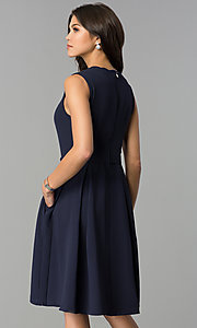 Image of navy blue wedding-guest party dress with pockets. Style: ESL-62025D-K Back Image