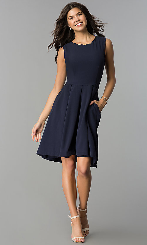 Image of navy blue wedding-guest party dress with pockets. Style: ESL-62025D-K Detail Image 2