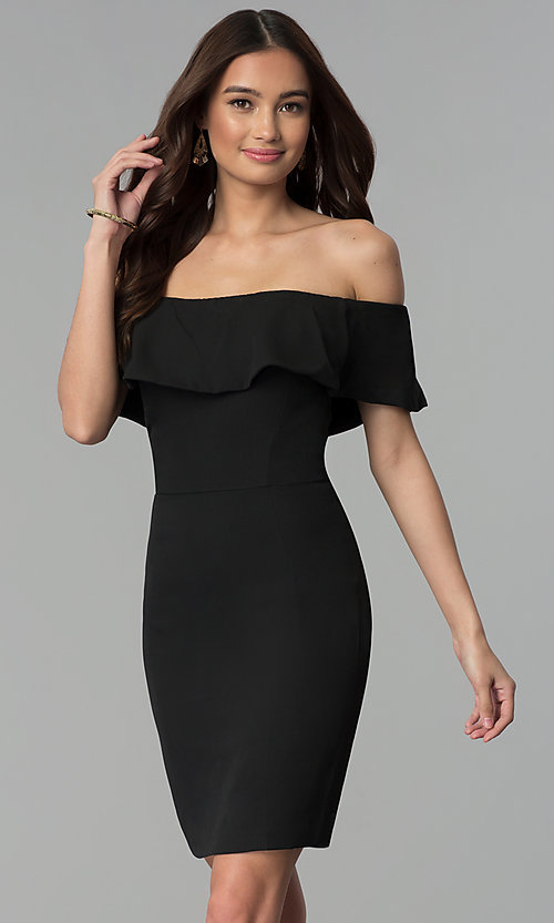 9d23a5f3b8ae Image of off-the-shoulder semi-formal short party dress. Style