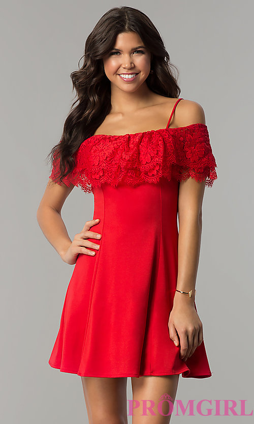 Image of off-the-shoulder lace-flounce jersey party dress. Style: ESL-61010D-K Front Image