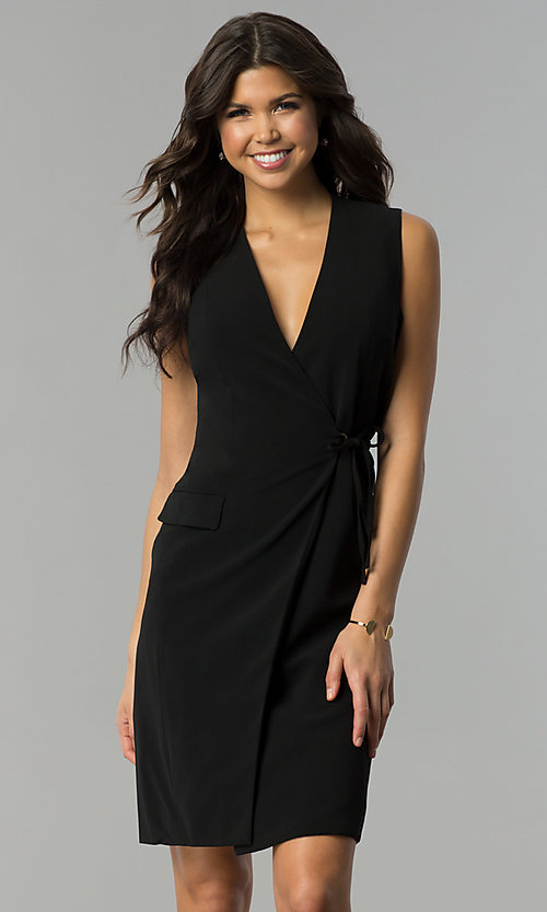 Image of knee-length black wrap party dress Style: ESL-62013D-K Front Image