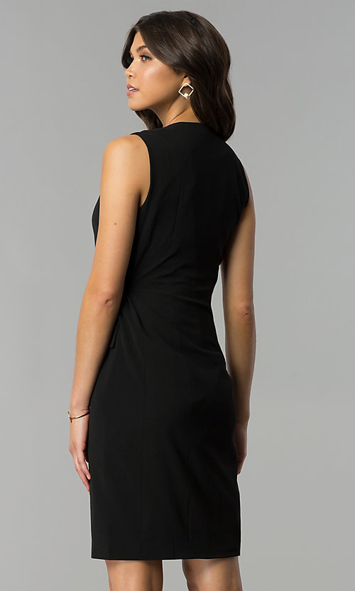 Image of knee-length black wrap party dress Style: ESL-62013D-K Back Image