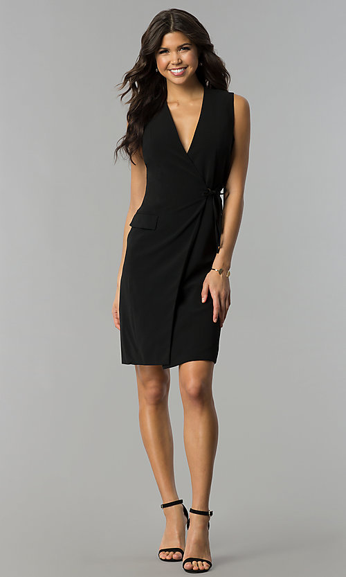 Image of knee-length black wrap party dress Style: ESL-62013D-K Detail Image 2
