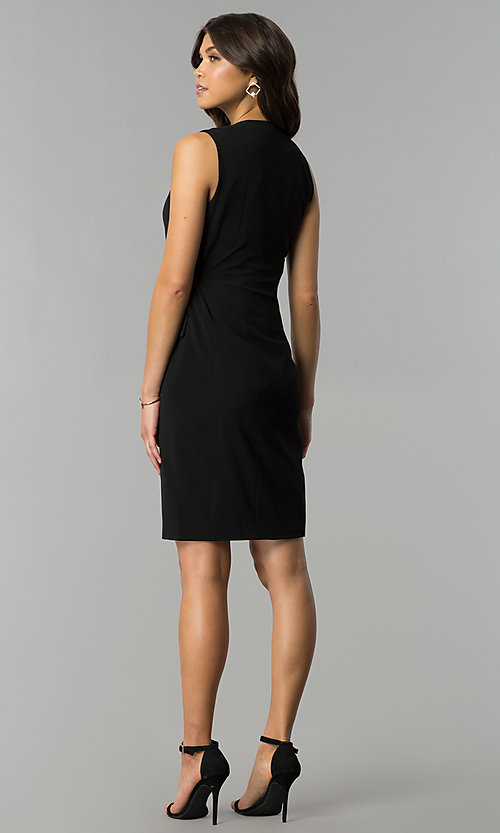 Image of knee-length black wrap party dress Style: ESL-62013D-K Detail Image 3