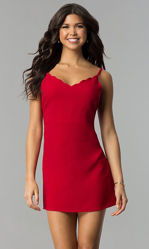 Image of jersey v-neck short affordable holiday shift dress. Style: ESL-62014D-K Detail Image 2
