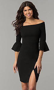 Image of off-the-shoulder holiday dress with 3/4 bell sleeves. Style: ESL-62015D-K Detail Image 2