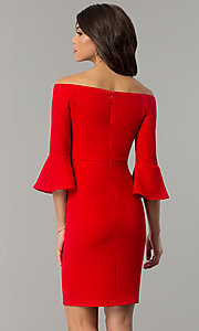 Image of off-the-shoulder holiday dress with 3/4 bell sleeves. Style: ESL-62015D-K Back Image