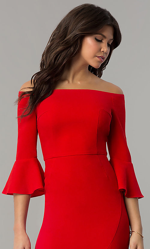 Image of off-the-shoulder holiday dress with 3/4 bell sleeves. Style: ESL-62015D-K Detail Image 1