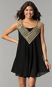 Image of black short shift holiday dress with crochet detail. Style: ESL-62026D-K Front Image