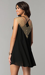 Image of black short shift holiday dress with crochet detail. Style: ESL-62026D-K Back Image