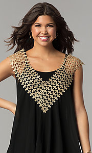 Image of black short shift holiday dress with crochet detail. Style: ESL-62026D-K Detail Image 1