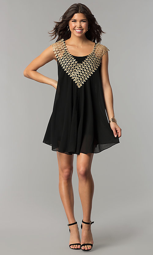 Image of black short shift holiday dress with crochet detail. Style: ESL-62026D-K Detail Image 2